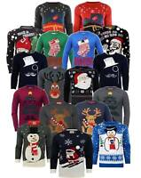 Men's Xmas Jumpers Christmas Sweater Santa LED Reindeer Various Colours