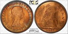1966 GREAT BRITAIN ONE PENNY PCGS MS64RD MULTI COLOR TONED ONLY 7 GRADED HIGHER