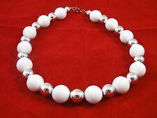 Vintage Retro White Lucite & Silver Tone Beaded Necklace
