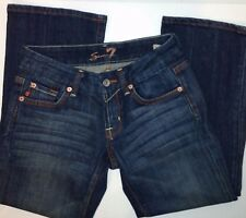 Seven7 Ladies Jeans Dark Wash Distressed Bootcut Low Rise Size 24