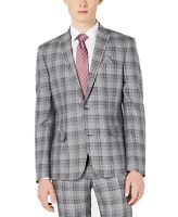 Bar III Mens Blazer Gray Size 38 Plaid Slim Fit Two Button Notched $275 194
