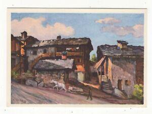 Ch Wuthrich Dorfplatz In Nendaz Switzerland Vintage Art Postcard 162c