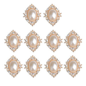 10x Flat Back Pearl Crystal Rhinestones Button Embellishment Cabochon Bead