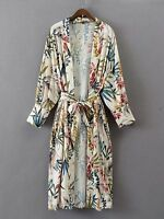 Summer Casual Loose Tropical Rainforest Floral Print Long Blouse Kimono Cardigan