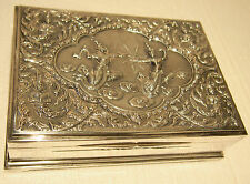 LARGE STERLING SILVER BOX HAND-CHASED  BEUTY FIGURINES SIAM-885.1 GR- 28.5 TOZ