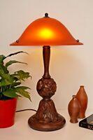 Einzelstück original Jugendstil Tischlampe Salonleuchte geschnitzt um 1920