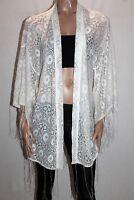 Blue Soul Brand White Boho Lace Kimono Cardigan Size 1 BNWT #SY74