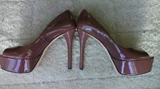 Brian Atwood Bambola Natural Patent Leather Open Toe Platform Pumps. Size US 8.5