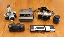 Lot of 5 Vintage Film Cameras: Canon Polaroid(2) Pentex Hanimex