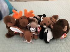 Ty Beanie Babies- Moose, Rabbit, Squirrel, Otter, Raccoon, Buffalo & Skunk