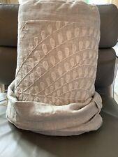 New Restoration Hardware Palmette Embroidered Linen King Duvet Cover $599 Fog
