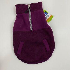 Top Paw Fleece Dog Sweater Coat Purple 1/2 Zip New