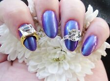 3D Nail Art Silver Gold Solitaire Rhinestone Gem Ring Alloy Metal Nail Jewellery