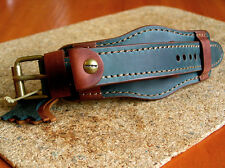 MILITARY WATCH BAND GENUINE LEATHER CUFF BRACELET STRAP 20mm TWO-TONE