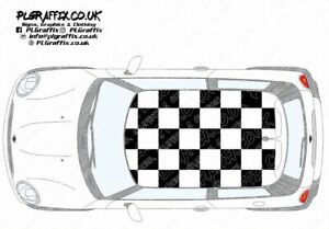 Mini chequered Roof graphics stickers decals R56 One Cooper