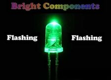 5 x Green Flashing LED 5mm - Ultra Bright(8000mcd) - UK - 1st CLASS POST