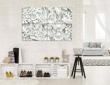 CANVAS Wandbild Leinwandbild Bild Blätter Weiss Abstraktion Blume 3D 3FX10052S10