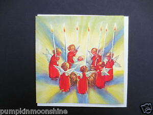 Unused Erica Von Kager Brownie Xmas Greeting Card Angels Surrounding Jesus