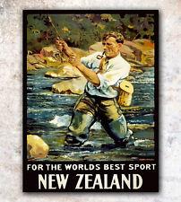 "Vintage Travel Poster Fishing Art New Zealand Print 8x10"" A166"