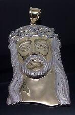 10 K White/ Yellow Gold Jesus Head With Diamond Cuts Charm, Brand New
