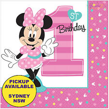 Minnie Mouse 1st Birthday Party Supplies 16pk Large Luncheon Napkins