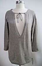 NEW INHABIT 100% cashmere gray tunic sweater size S NWOT