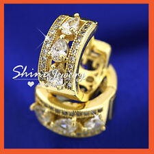 14K GOLD GF SOLID LUXURY WOMEN SIMULANT DIAMOND ART DECO DRESS HOOP EARRINGS NEW
