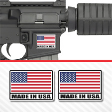 (2X) Made In USA American Flag Sticker Vinyl Decal AR-15 Lower Tactical Survival