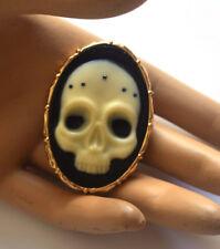 250$ RARE Alexis Bittar Signed Gotic Pin Up Black bone Skull Cameo Pin Brooch