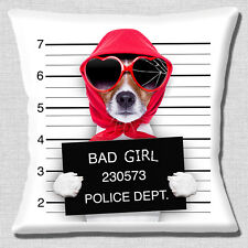 Jack Russell Dog Cushion Cover 16x16 inch 40cm Funny Bad Girl Jail Mug Shot