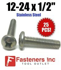 "(Qty 25) #12-24 x 1/2"" Phillips Pan Head Machine Screw Stainless Steel"