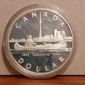 1984 Boxed .500 Silver Canada $1 Coin - Toronto 150th Anniversary