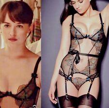 Agent Provocateur Fifty Shades basque corset 32C sheer black aqua embroidery NEW