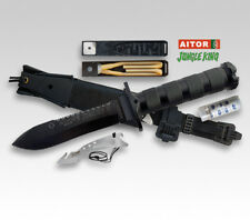 "AITOR JUNGLE KING II SURVIVAL ARMY RESCUE FIX 5.3"" BLACK BLADE KNIFE ** NEW **"