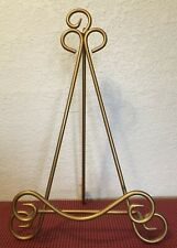 """Book, Picture, Large Plate Gold Colored Metal Foldable Easel Holder 15"""" x 9-1/2"""""""