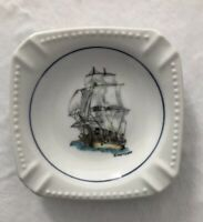 "Nautical Sailboat Vintage Ashtray White Glass Agiftcorp 4"" Square"