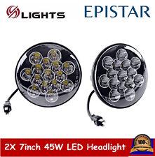 2X 7inch 45W Round LED Headlight Hi/Lo Beam Off-road Driving Fog Lamp Jeep Truck