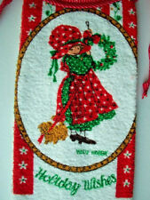 Holly Hobbie terry cloth Kitchen vintage Christmas towel tie on