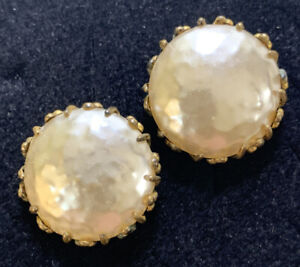 Miriam Haskell Creamy Faux Baroque Pearl Signature Screw/Clip Earrings c. 1950's