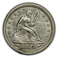 1854 25c Seated Liberty Silver Quarter - AU Detail - Nice Eye Appeal - SKU-B1005