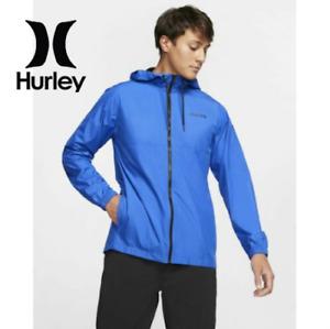 Hurley Siege Windbreaker Water Repellent Full Zip Hooded Jacket Men's sz M L XL