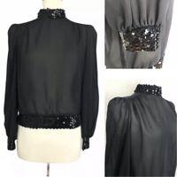 Vintage Lucie Ann Beverly Hills Sequin Trim Blouse Size M Sheer Black NYE