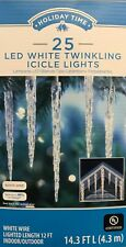 25 Holiday Time White LED Twinkling Icicle Lights