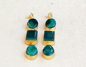 Exclusive Handcrafted Gold Plated Green Agate DangleDrop Long Earring-E7-025-4