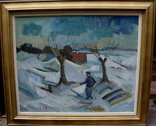 Arnold William Pedersen 1912-1986, Winterlandschaft mit Mann, um 1950