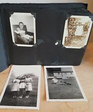Vintage Album 1930-1960s 80 Black & White Photos Babies Family Farm Friends