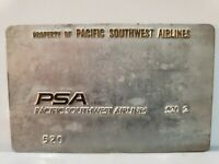 PSA Vintage ORIGINAL AIRLINE VALIDATION PLATE Pacific Southwest Airlines