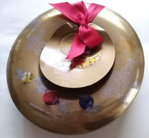 Collectable Lindt Lindor Gold Colour Round Wreath Chocolate Tin