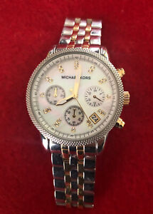 Michael Kors Ritz Silver gold-Tone MK5057 Mother of pearl Wrist Watch for Women