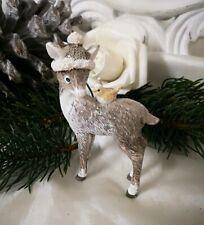 Reh Bambi Vogel Deko Figur Weihnachten Christmas Shabby Vintage Landhaus 9x6cm